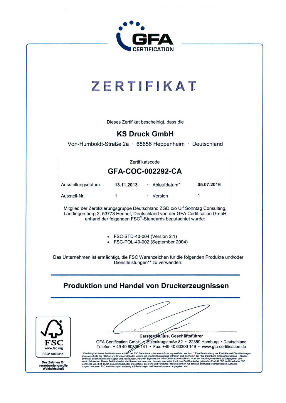 GFA Zertifikat
